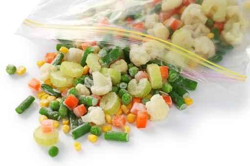 homemade frozen vegetables in freezer bag