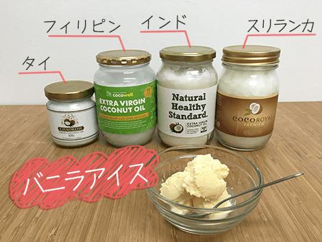 ココナッツオイル香りの比較