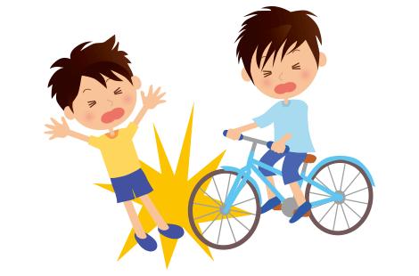 子供の自転車事故の画像
